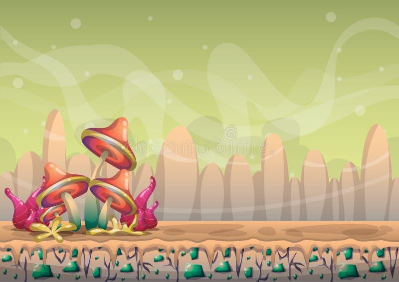 Het landschapsachtergrond van de beeldverhaal ontwerpen de vectoraard met gescheiden lagen voor spelkunst en het animatiespel act royalty-vrije illustratie