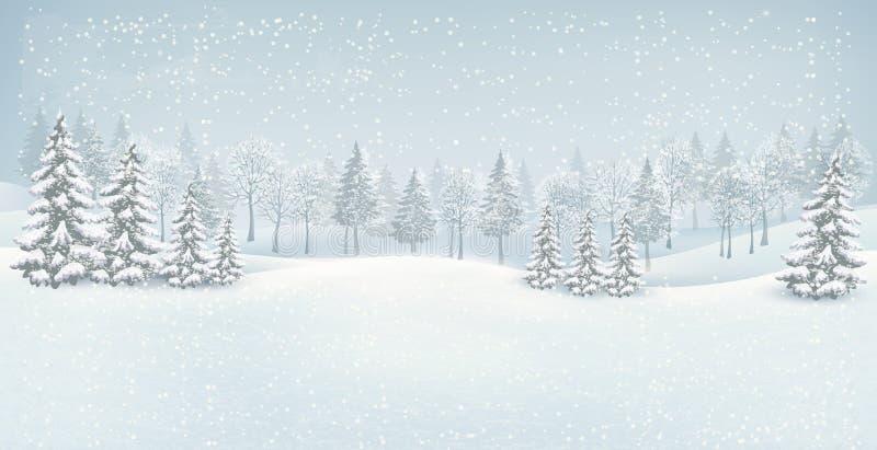 Het landschapsachtergrond van de Kerstmiswinter. royalty-vrije illustratie