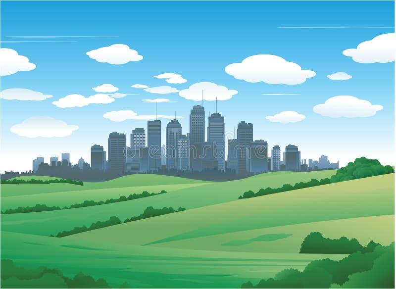 Het landschapsachtergrond van de stad stock illustratie