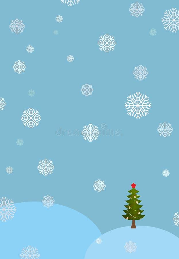 Het landschapsachtergrond van de winter Sneeuwbanken en Kerstboom Daling stock illustratie