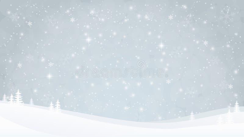 Het landschapsachtergrond van de de winteravond met sneeuwval en bomen De glanzende zachte achtergrond met sneeuwvlokken, speelt  stock illustratie