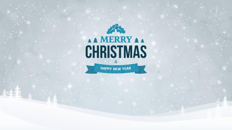 Het landschapsachtergrond van de de winteravond met sneeuwval en bomen Kerstmis en Nieuwjaar Typografisch uitstekend kenteken stock illustratie