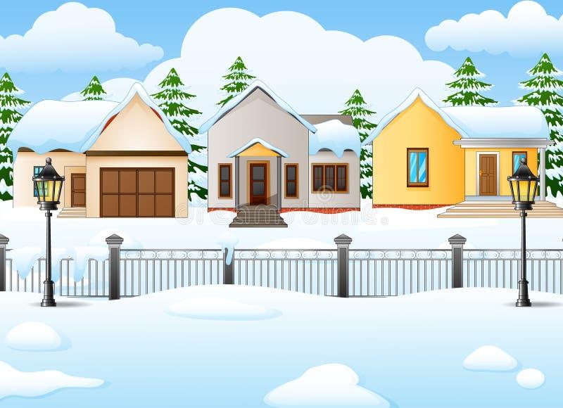Het landschapsachtergrond van het de winterdorp met sneeuw behandeld huis vector illustratie