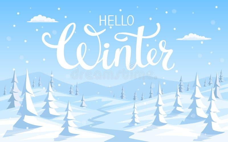 Het landschapsachtergrond van de de wintersneeuw met pijnboombomen royalty-vrije illustratie