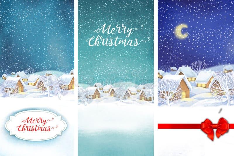 Het landschapsachtergrond van het de winterdorp Feest van Kerstmis royalty-vrije illustratie