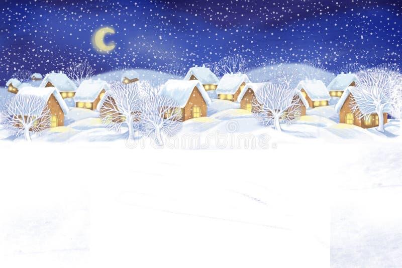 Het landschapsachtergrond van het de winterdorp Feest van Kerstmis vector illustratie