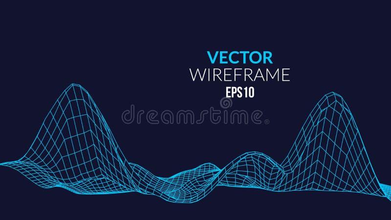 Het Landschapsachtergrond van het Wireframenetwerk Futuristisch Landschap met lijnnet Lage Poly 3D Wireframe-Afbeelding Netwerk C vector illustratie