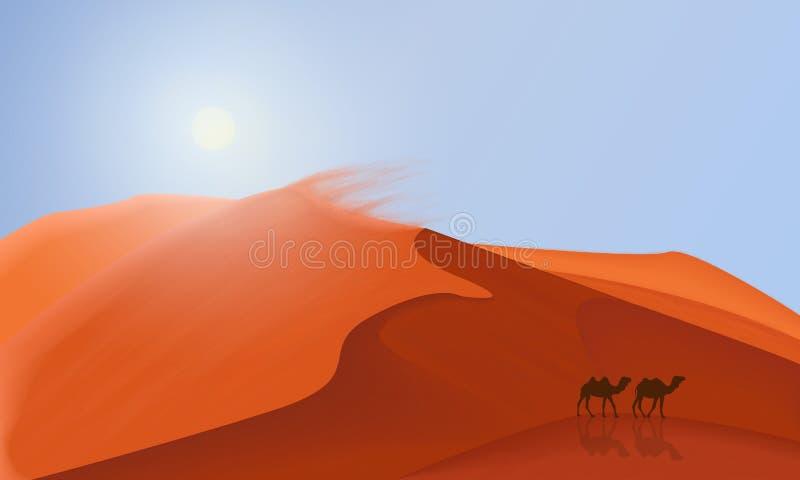 Het landschapsachtergrond van woestijnduinen met kamelen die in de woestijn lopen Eenvoudige vlakke minimalismillustratie stock illustratie