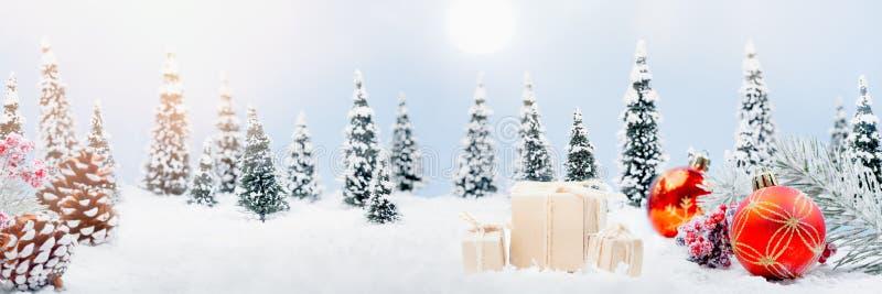 Het landschapsbanner van de Kerstmisdecoratie royalty-vrije stock fotografie