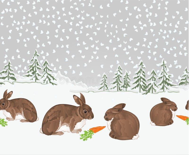 Het het landschapsbos van de grenswinter met sneeuw en van konijnenkerstmis thema naadloze uitstekende vectorillustratie natuurli stock illustratie