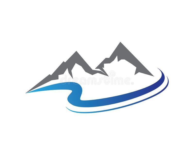 Het landschapsembleem van de bergaard en het malplaatje van symbolenpictogrammen vector illustratie