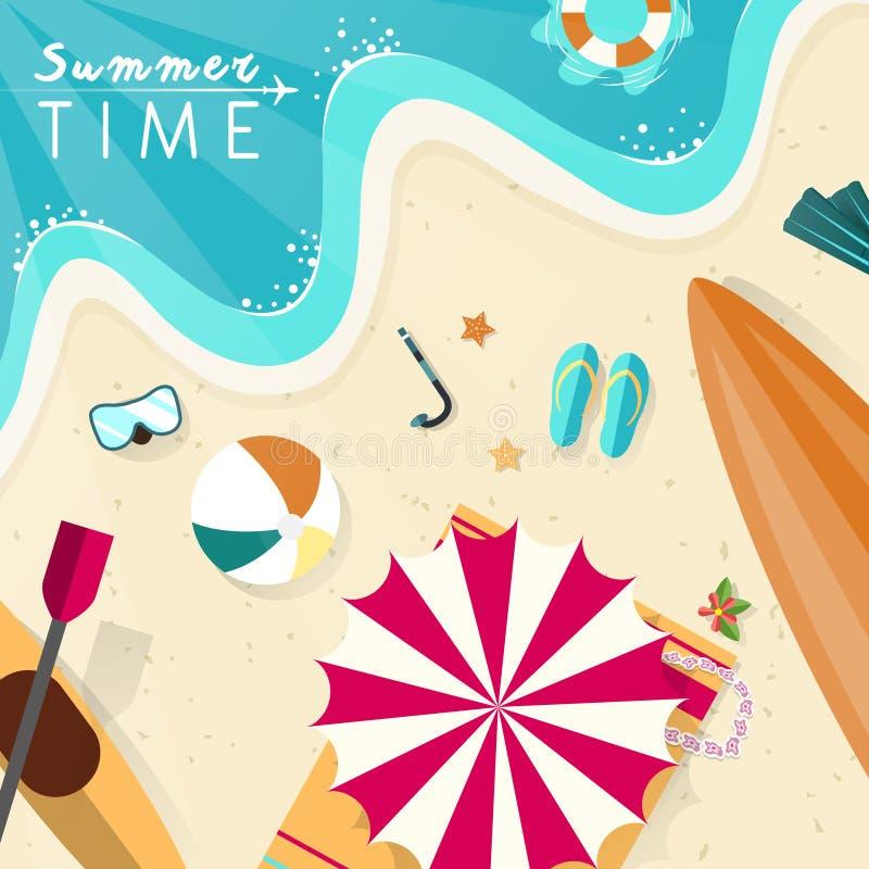 Het landschapsillustratie van het de zomerstrand in vlak ontwerp vector illustratie