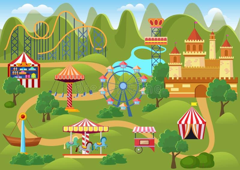 Het landschapskaart van het pretparkconcept met vlakke kermisterreinelementen, kasteel, de vectorillustratie van het bergenbeeldv royalty-vrije illustratie