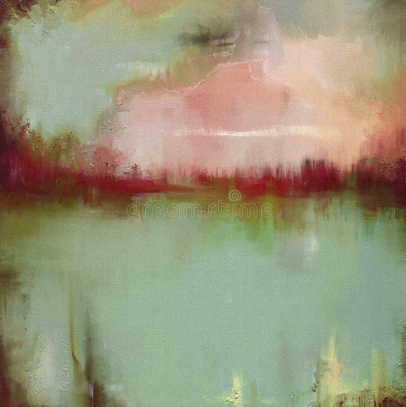Het landschapskunstwerk van de olieverfschilderij abstract stijl op canvas vector illustratie