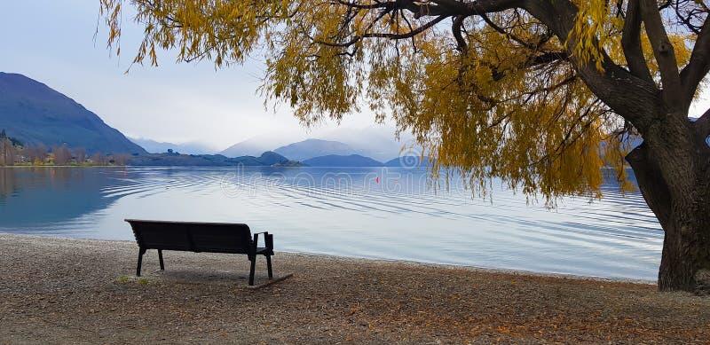 Het landschapsmening van de panoramamening bij Wanaka-meer Nieuw Zeeland in de herfst stock foto's