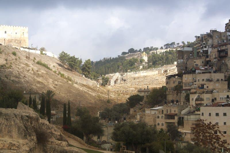 Het landschapsoriëntatiepunten van Israël De mening van Jeruzalem van de oud stad en t stock foto's