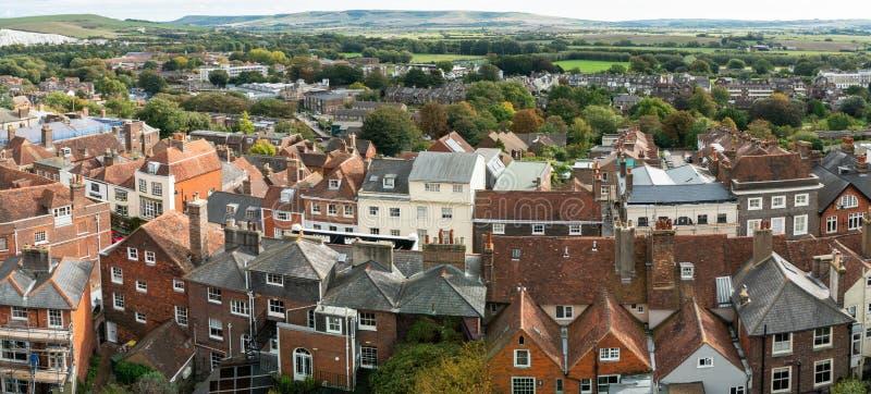 Het landschapspanorama van Engeland van Lewes-Kasteel, de stad van de provincie van East Sussex in hoogste mening royalty-vrije stock afbeeldingen