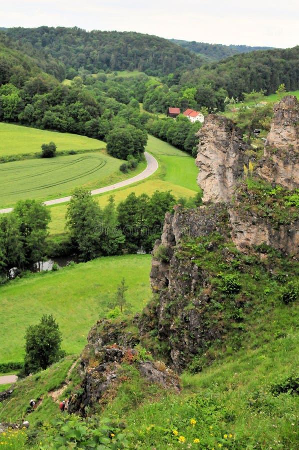 Het landschapsrivier van het rotspanorama van Beieren Europa stock foto