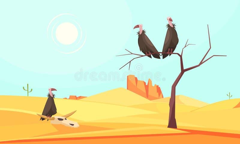Het Landschapssamenstelling van woestijnvogels stock illustratie