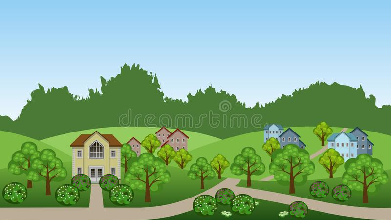 Het landschapsscène van de dorpszomer vector illustratie