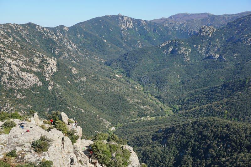Het landschapsvallei Lavail Frankrijk van de Pyreneeën Orientales stock foto