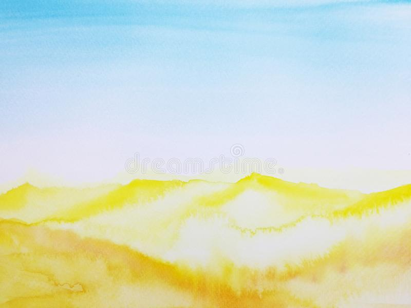 Het landschapswoestijn van de waterverfhand getrokken illustratie stock illustratie
