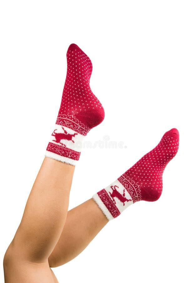 Het lange geïsoleerder wijfje van benen in gestreepte sokken stock fotografie