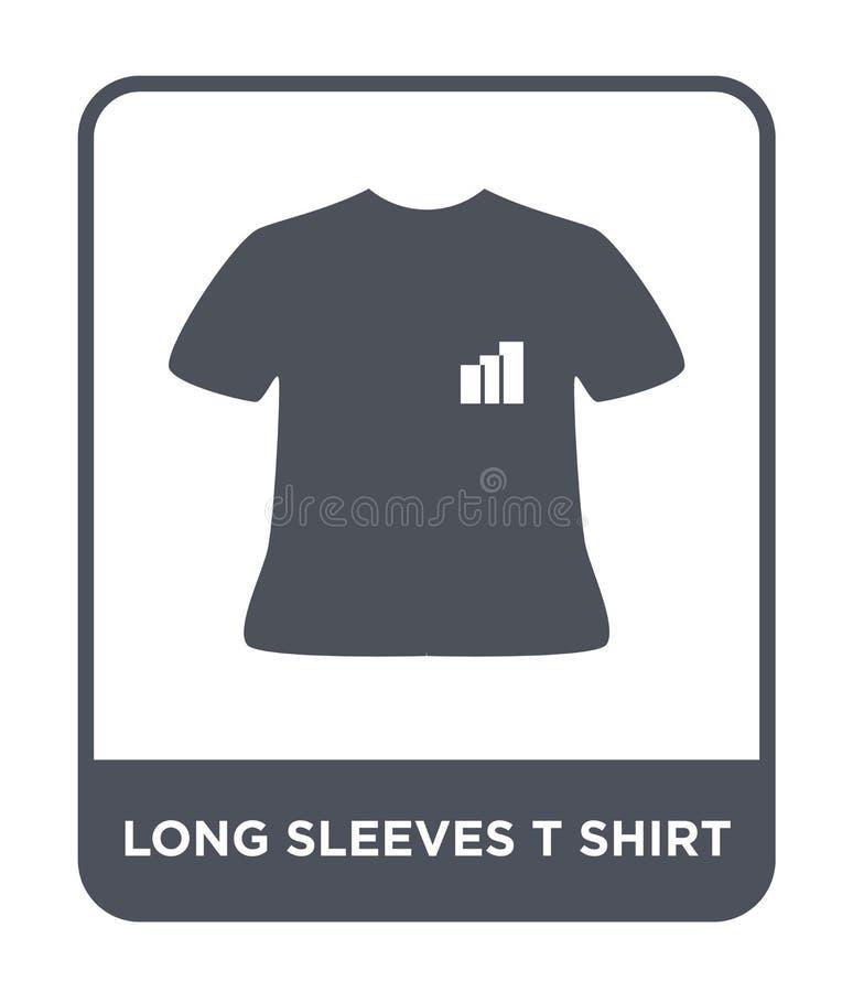 het lange pictogram van de kokerst-shirt in in ontwerpstijl het lange die pictogram van de kokerst-shirt op witte achtergrond wor royalty-vrije illustratie