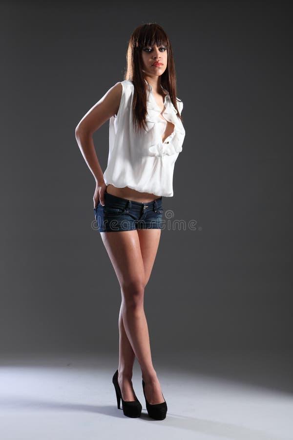 Het lange slanke mooie gemengde meisje van de rasmannequin stock foto