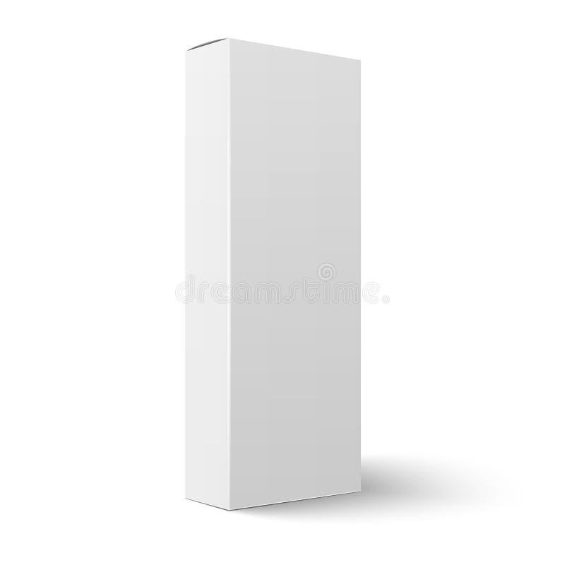 Het lange verticale lege malplaatje van de kartondoos stock illustratie