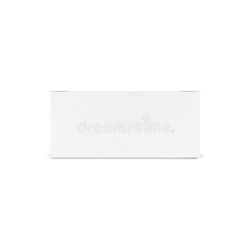 Het lange witte model van de kartondoos - vooraanzicht Realistische Kartondoos, container, verpakking Spot op Malplaatje Klaar vo royalty-vrije illustratie