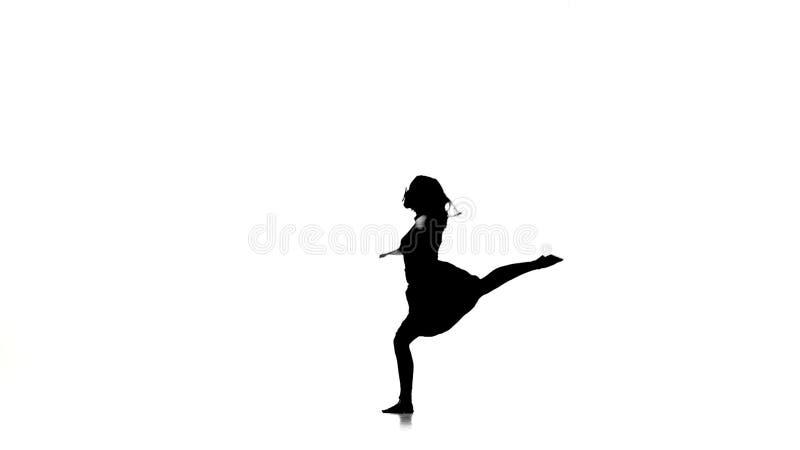Het langharige vrouwendanser dansen springt de eigentijdse dans, en maakt tot spleet, op wit, silhouet, langzame motie