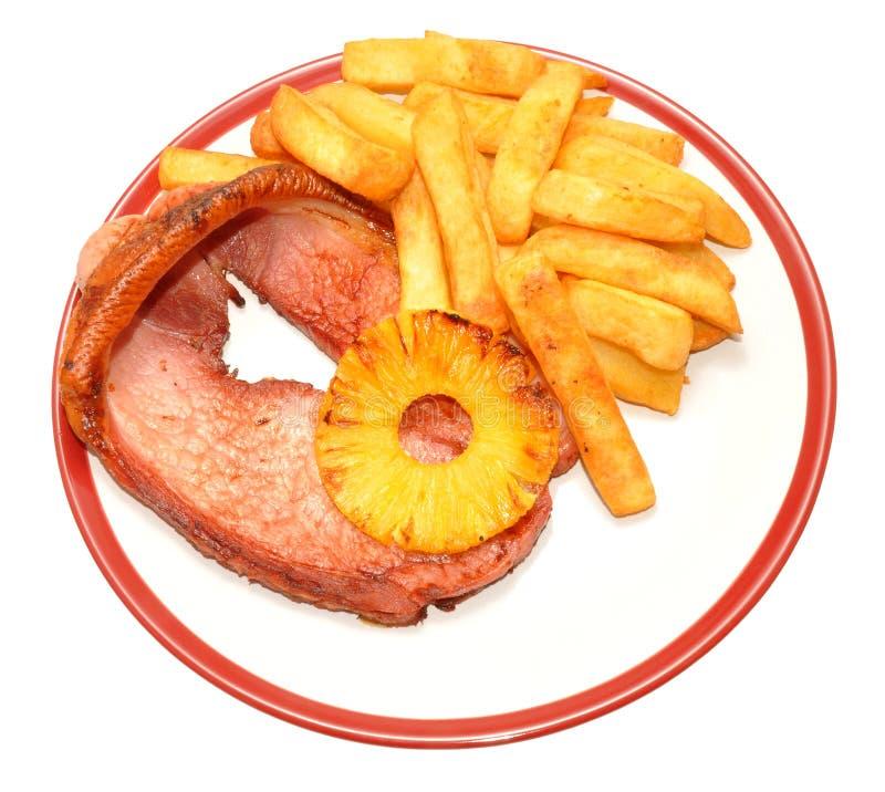Het Lapje vlees en Chips Meal van Gammon royalty-vrije stock fotografie