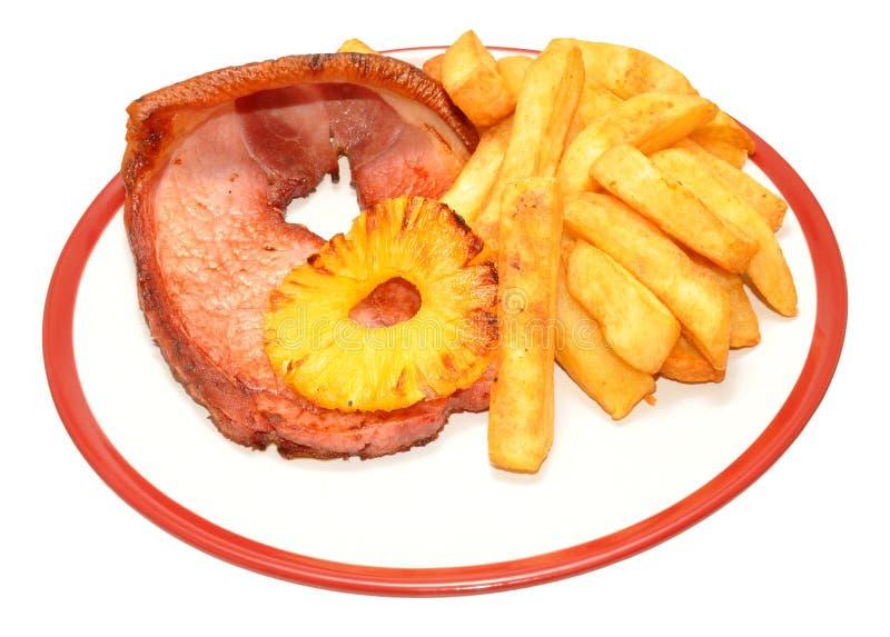 Het Lapje vlees en Chips Meal van Gammon royalty-vrije stock foto
