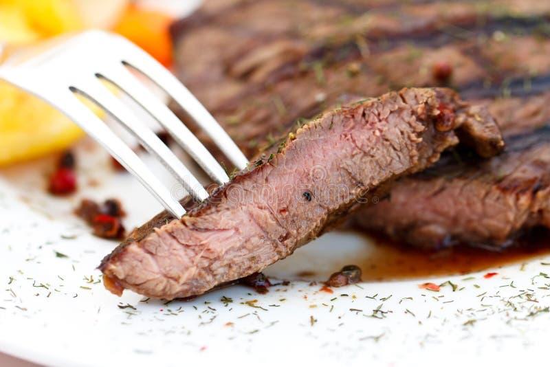 Het Lapje vlees van de Strook van New York met Groenten stock foto
