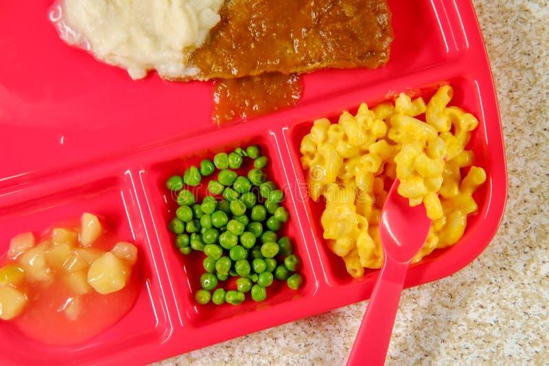Het Lapje vlees van Schoolmaaltijdsalisbury stock afbeeldingen