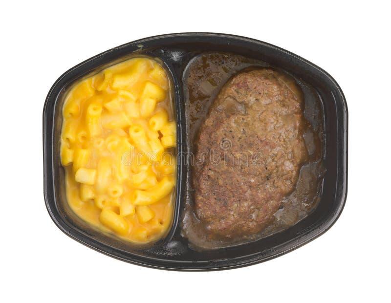 Het lapje vleesmaaltijd van Salisbury met macaroni en kaas het diner van TV stock foto