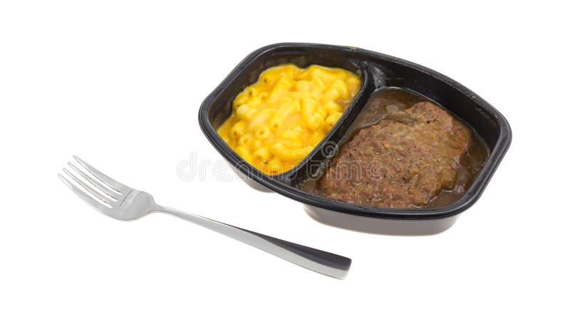 Het lapje vleesmaaltijd van Salisbury met macaroni en kaas het diner van TV royalty-vrije stock afbeeldingen