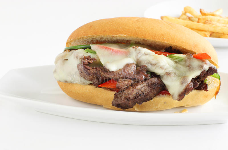 Het lapje vleessandwich van de Phillykaas stock afbeeldingen