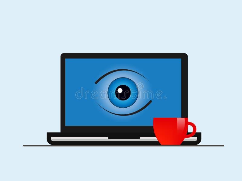 Download Het Laptop Scherm Met Een Oog Vector Illustratie - Illustratie bestaande uit houwer, datum: 107704501