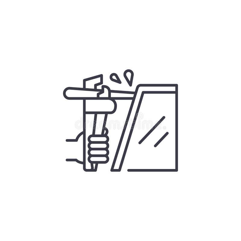 Het lassen lineair pictogramconcept Het vectorteken van de lassenlijn, symbool, illustratie royalty-vrije illustratie