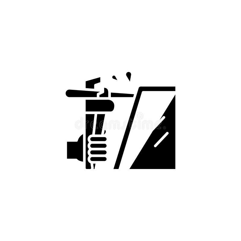Het lassen zwart pictogramconcept Lassend vlak vectorsymbool, teken, illustratie royalty-vrije illustratie