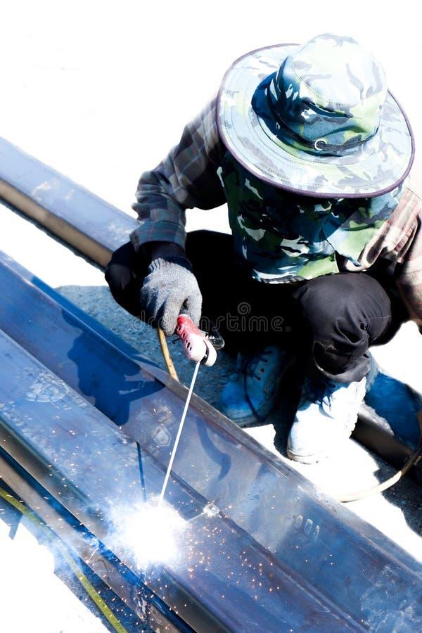 Het lassenwerk voor de bouwnijverheid in Thailand stock afbeelding