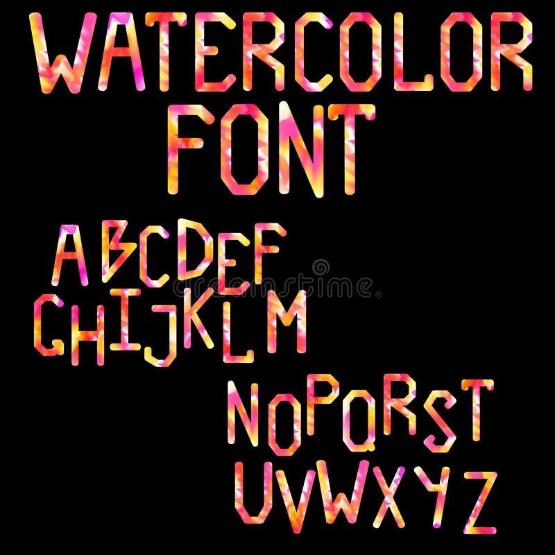 Het Latijnse alfabet Digitale waterverf Grote blokletters royalty-vrije illustratie