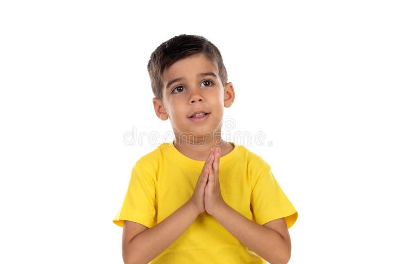 Het Latijnse kind bidden royalty-vrije stock foto's
