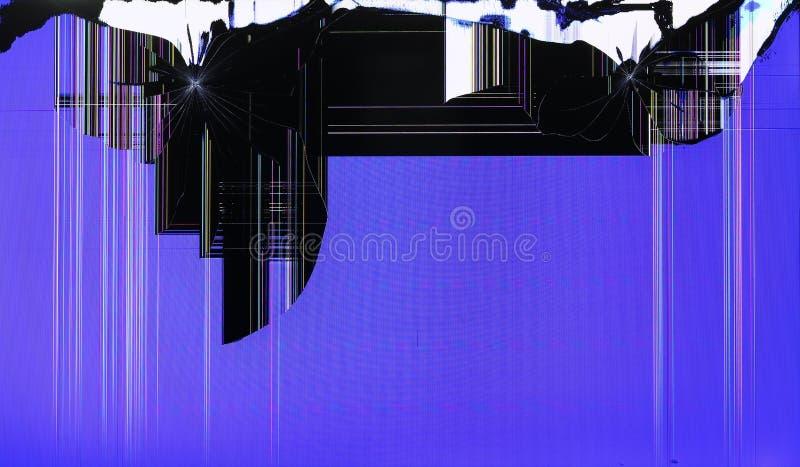 Het LCD scherm van TV-setis door schoten op blauw gebied wordt gebroken dat stock foto