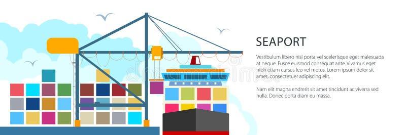 Het leegmaken van Containers van een Vrachtschip, Banner stock illustratie