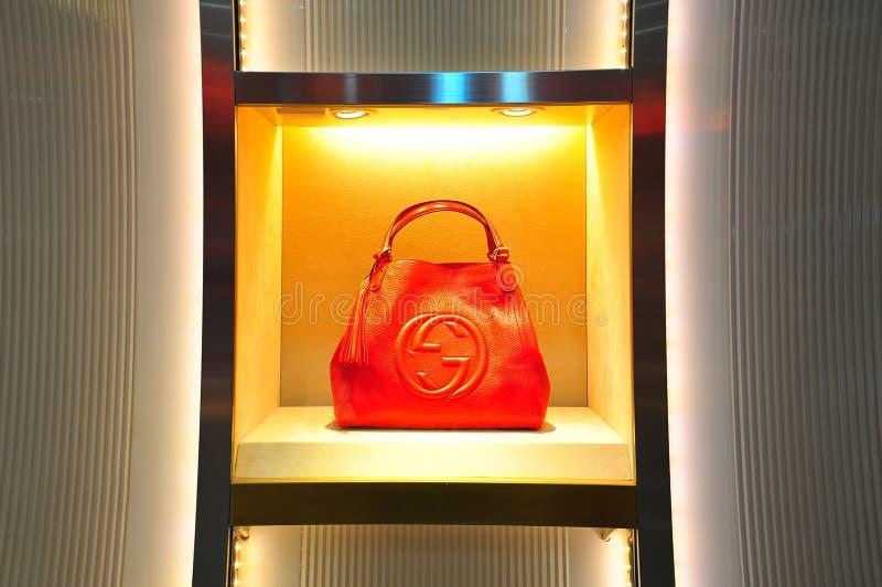 Het leerhandtas van Gucci stock fotografie