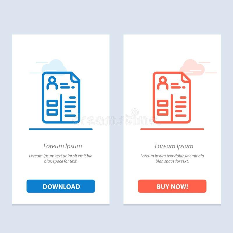 Het leerplan, Cv, de Baan, de Portefeuille Blauwe en Rode Download en kopen nu de Kaartmalplaatje van Webwidget vector illustratie