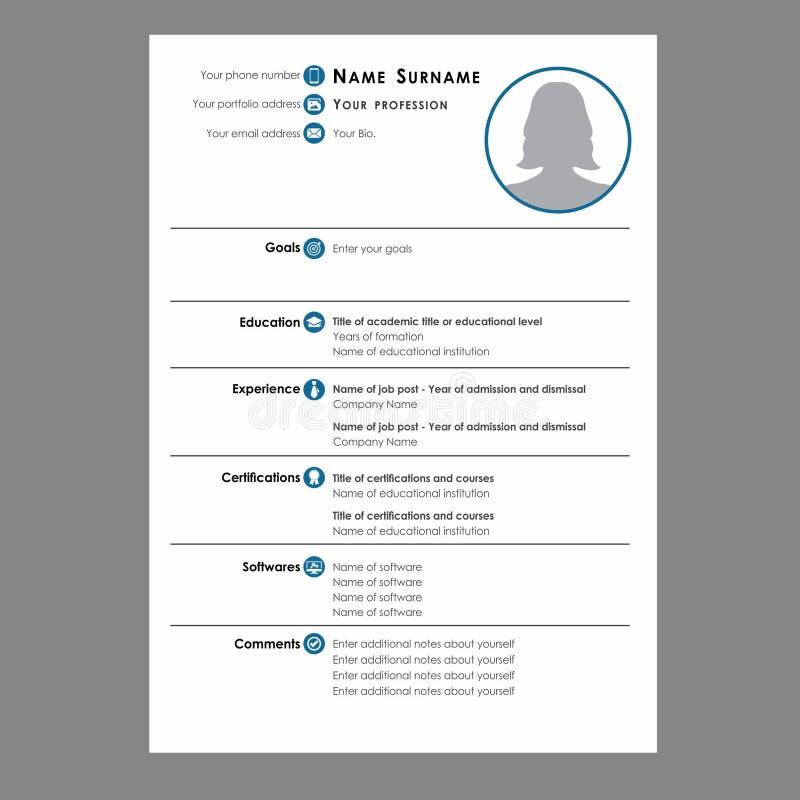 Het leerplan of hervat voor baan stock illustratie